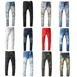 Wholesale 2020 Balmain Mens Distressed Ripped Biker Jeans Slim Fit Motorcycle Biker Denim For Men Fashion Designer Hip Hop Mens Jeans Good Quality