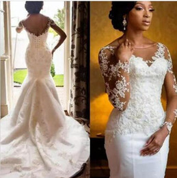 tull plus size wedding dress Canada - African Mermaid Wedding Dresses Sheer Scoop Neck Long Sleeve Tull lace Applique Beades Plus Size Wedding Bridal Gowns With Lace Up Back