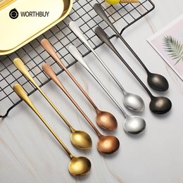 stainless steels accessories Australia - Worthbuy Colorful Coffee Scoop Stainless Steel Coffee Spoon With Long Handle Kitchen Coffee Accessories Dessert Cafe Tea Spoon SH190716