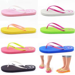 Discount bathroom slippers - Pools Love Pink Flip Flops Candy Colors Beach Pools Slippers Shoes For Women Casual PVC Home Bathroom Sandals Pools WX9-