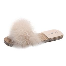 slippers flat feet 2019 - SAGACE Casual Shoes Women Feet Flat Shoe Summer Non-Slip Artificial Hair Slippers fashion Feather Round Toe princess sho