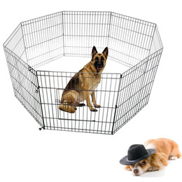 """Wholesale 24""""Tall Wire Fence Pet Dog Cat Folding Exercise Yard Panel Cages Play Pen Black"""