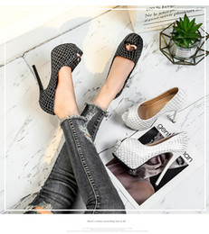 14cm Stiletto Shoes NZ - Desinger for Night club party banquet wed dress shoes woman lady stone sandals super high stiletto heel 14cm peep toe platform casual shoe