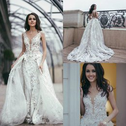 bride dresses detachable skirts NZ - 2019 Luxury Mermaid Wedding Dresses With Detachable Skirt 3D Floral Appliques Sheer Jewel Neck Robe De Mariée Plus Size Wedding Dress Bride