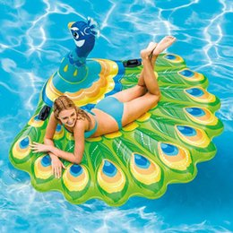 inflatable pool chair floats Australia - 15PCS Giant Inflatable Peacock Pool Float Ride-On Swimming Ring for Adult Children Air Mattress Beach Chair Lounger Water Toys