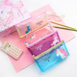 fe6110e3ce Halloween pencil case online shopping - 4 colors Unicorn Pencil Bag Cartoon Transparent  Pencil Cases Stationery