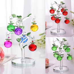 $enCountryForm.capitalKeyWord UK - Glass Crystal Apple Tree With 6pcs Apples Fengshui Crafts Home Decor Figurines Christmas New Year Gifts Souvenirs Decor Ornament J190713