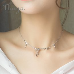 Silver Falls Australia - Thaya Original Design Falling Rain Injury S925 Sterling Silver Necklace Simple Choker Necklace Female Jewelry Gift For Women J190612