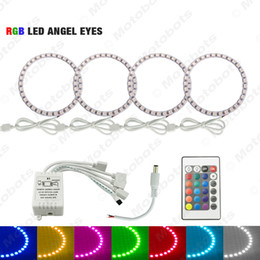 halo rings car headlights UK - 4pcs Car LED RGB Angel Eyes Halo Ring Light Wireless Remote Control for Ford Focus 08+ Bi-Xenon Headlight #3347