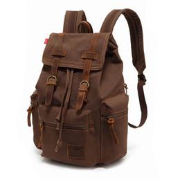 """Backpack Canvas Bag Laptop UK - Augur 2018 Vintage Canvas Backpacks For Men's High Quality Casual Backpack Male 15.6"""" Computer Laptop Backpack Black Travel Bag Y19061204"""