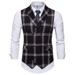 $enCountryForm.capitalKeyWord Australia - HOT! New Slim Fit Mens Waistcoat Casual Suit Vest Men Plaid Style Men Chalecos Hombre Business Dress Vest Sleeveless Gilet