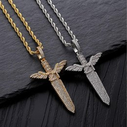 $enCountryForm.capitalKeyWord Australia - 18K Gold Plated Necklaces Jewelry Exquisite Grade Quality Glaring Bling Zircon Angel Sword Pendant Luxury Hip Hop Necklaces Wholesale LN096