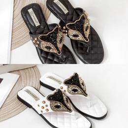 $enCountryForm.capitalKeyWord Australia - Designer 2019 Flip Flops Sandals Fox Head Style Summer Latest Rhinestone Slip-on Designer Slides Women S Shoes Wide Flat Slippers