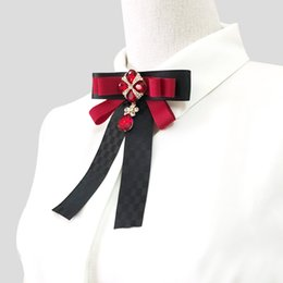Bowties For Women Australia - New Fashion Bowknot Red Solid Ribbon Polyester Bow Tie Pocket Party Dress Fringe Crystal Bow Ties for Women Bowties Duftgold