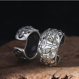 Wholesale thai animals online – design S925 silver ancient animal beast opening couple ring retro Thai silver domineering personality ring