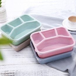 food compartment box Australia - Wholesale Lunch Box For Students Bento Picnic Compartment Office Worker Plastic Fast Food Box Storage Container With Lids Kitchen Storage
