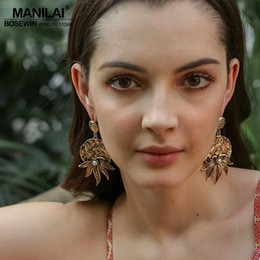 Chinese  Dangle MANILAI Vintage Leaves Dangle Statement Earrings For Women Big Antique Alloy Plant Drop Earrings Bohemian Jewelry Bijoux 2018 manufacturers
