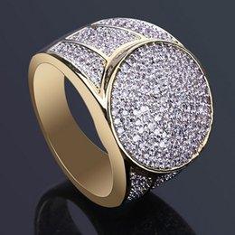 Brass Rings For Men Australia - Mens Hip Hop Gold Rings Jewelry New Fashion Iced Out Rings Simulation Diamond Rings For Men K3733