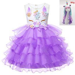 Silver Purple Wig Australia - Floral cosplay unicorn Summer Dress for Children Flower Girls Dress Party Wedding Wig Elegent Princess ball gown Vestidos