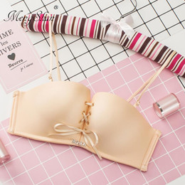 Discount push up bra without wire - sexy Pull B Four jiao cup Girls without Rings Bra comfort Seamless gathering Pull smooth noodles Front ban Adjustable un