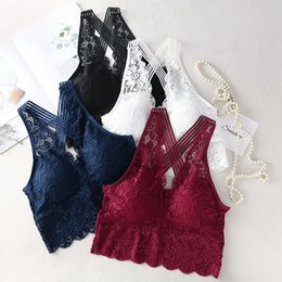$enCountryForm.capitalKeyWord Australia - Women Deep V Neck Sexy Lace Bralette Camisoles Tank Top Wirefree Push Up Underwear Female Thin Beauty Back Lingerie Brassiere