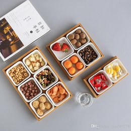 Discount nut plate - Japan Style Bamboo Storage Trays with Slots for Nuts Snacks Candies Ceramic Dish Plates Coffee Table Storage Box Home De
