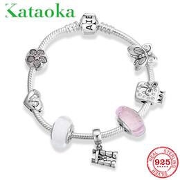 Telescope glasses online shopping - Hight Quality Sterling Silver Flower clip telescope Glass Beads Bracelet Bangles for Women Pendant Bracelets Jewelry