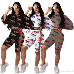 $enCountryForm.capitalKeyWord Australia - women Short Batwing Sleeve t-shirt shorts 2 piece set outfits Print Letter Tee Top tshirt bodycon pant sportswear Sports suit tracksuit