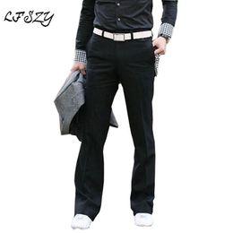 Gray Mid Length Dress Australia - 2019 Korean version of Flared pants Men's Fashion Casual pants Slim Suit Men's Perfume Dress Size 28-35 36