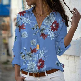 T Shirts Material Wholesale Australia - Womail Casual Button Design Long Sleeve Loose Plus Size Female Fashion Polyester Material Printed Design Women T-Shirt 19MAY20