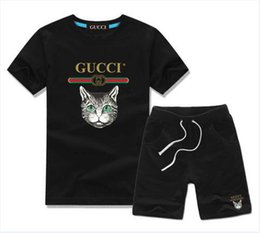 Hot Cat Suits Australia - gG brand Tracksuits 2019 Babys cat Embroidered Suits 2 piece Kids Clothing Set Hot Sell Fashion Summer Childrens t-shirts+short top quality