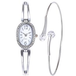 $enCountryForm.capitalKeyWord NZ - Funique 2 3pcs Women Alloy Watch Bracelet Shining Rhinestone Jewelry Gifts Fashion Steel Strip Creative Wristwatch Bangle Set C19041202