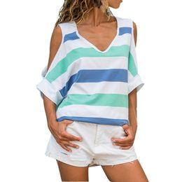 Hollow Block Wholesale Australia - Feitong Summer T Shirt Women Fashion Triple Color Block Striped Printed Shirts Girls Lady Short Sleeve Casual Loose Tee Tops