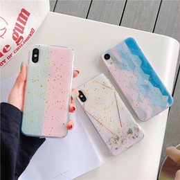 Wholesale Luxury Designer Marble Gold Foil Phone Case for Iphone X XS MAX XR s Plus Cellphone Bulk Sparkle Rhinestone Soft Cover