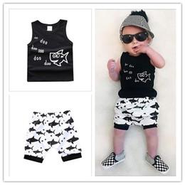 Boys Sleeveless Vest Australia - Summer New Baby Boys Fish Shark Printed Clothing Sets Sleeveless Vest+Shorts 2pcs Set Boy Outfits Children Suits 4sets lot