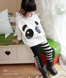 girls panda pants 2019 - Wholesale -Spring autumn Girls Sequins Panda Cotton Long Sleeve Shirts+Striped Pants Children 2pcs Set