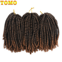 synthetic hair curly kanekalon 2019 - TOMO Hair 8 inch Short Crochet Braids Ombre brown Spring Twist Hair Kanekalon Synthetic Hair Extensions Braids Kinky Cur