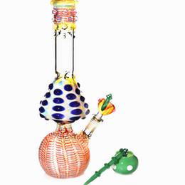 pipe bong tube 2019 - Glass Bong Mushroom Beaker Water Pipes Beautiful zob hitman colorful Straight tube pink hand made dab rigs oil heady bon