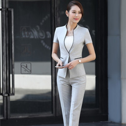Professional Female Skirt Suits Australia - 2017 Summer Formal Professional Business Women Suits With Jackets And Pants Female Trousers Sets Summer Blazers Outfits J190430