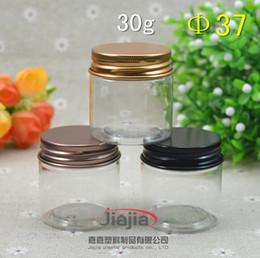 $enCountryForm.capitalKeyWord Australia - 30 grams clear PET Jar,30ml Plastic Jar with gold black brown Aluminum cap Cosmetic Packaging Personal Care Sample Container