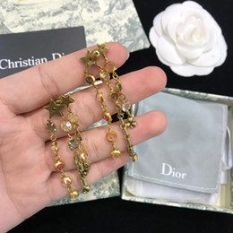 $enCountryForm.capitalKeyWord Australia - Top Pearl Chain Long tassel earrings Stud Earrings Letters diamond Earring Jewelry women Accessories for Women Wedding Gift cd-6