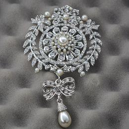 $enCountryForm.capitalKeyWord Australia - brand brooch 4.5 Inch Extra Large Size Big Brand Luxury Flower and Bow Design Drop Pearl and Crystal Brooch Wedding Silver Tone