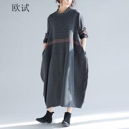 e51d2e5930fa9 Plus Size Oversized Sweater Dress Australia - Women Knitted Sweater Dress  Long Sleeve Art Striped Autumn