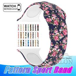 Großhandel Neue 39 farben floral bands für apple watch 38mm 42mm 40mm 44mm silikon fadeless muster gedruckt ersatz bands für iwatch serie 4 3 2 1