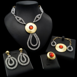 opal set jewellery Australia - Yulaili 4 Pcs set Women Jewellery Female Gold Color Luxury Red Opal Pendant Necklace Earrings Bracelet Ring Nigeria Wedding Jewelry Sets