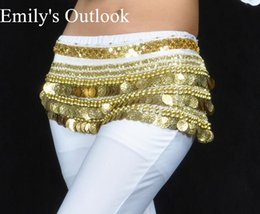 $enCountryForm.capitalKeyWord Australia - 338 Coin Golden Silver Extra Heavy Belt Belly Dance Costume Hip Scarf Wrap Waist Band India Dancer Multi Color Free Shipping