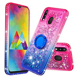 $enCountryForm.capitalKeyWord Australia - For Huawei Mate 20 Pro P20 Lite P Smart Moto G6 Plus E5 Play 2018 360 Finger Metal Ring+Quicksand Soft TPU Case Gradient Bling Liquid Cover