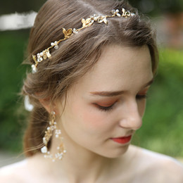 $enCountryForm.capitalKeyWord Australia - Bride Accessories Handmade Hair Band Earrings Two-piece Bride Wedding Hair Band Women Hair Accessories Earrings Matching