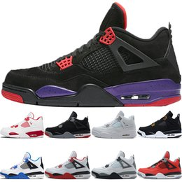 best quality boots 2019 - Best seller high quality 4 4s Black Cat White Cement Fire Toro Red men women sneaker Raptors Pure Money Bred Royalty bas