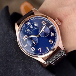 Big Pilots Watch Australia - New IW502701 Pilot Little Prince Rose Gold Case Blue Dial Big Day Date Automatic Mens Watch Brown Leather Strap Sport Watches Timezonewatch